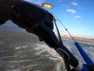 IN BEELD. Spektakel in Oostende: kitesurfer Adriano trotseert wind en vliegt metershoog boven de Noordzee tijdens stormweer