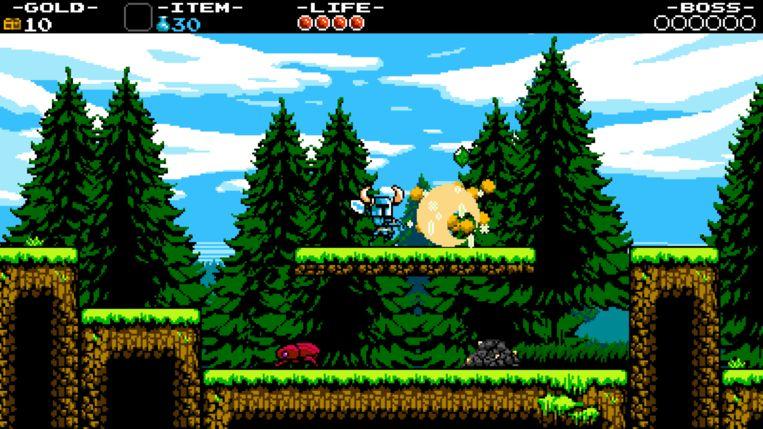 Een screenshot uit 'Shovel Knight: Shovel of Hope' (2014), dat stilistisch teruggrijpt op games uit het verleden. Beeld Yacht Club Games
