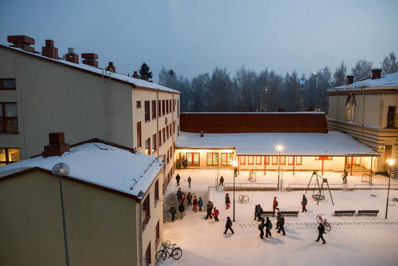 Schoolplein in Oulu, in het noorden van het land.