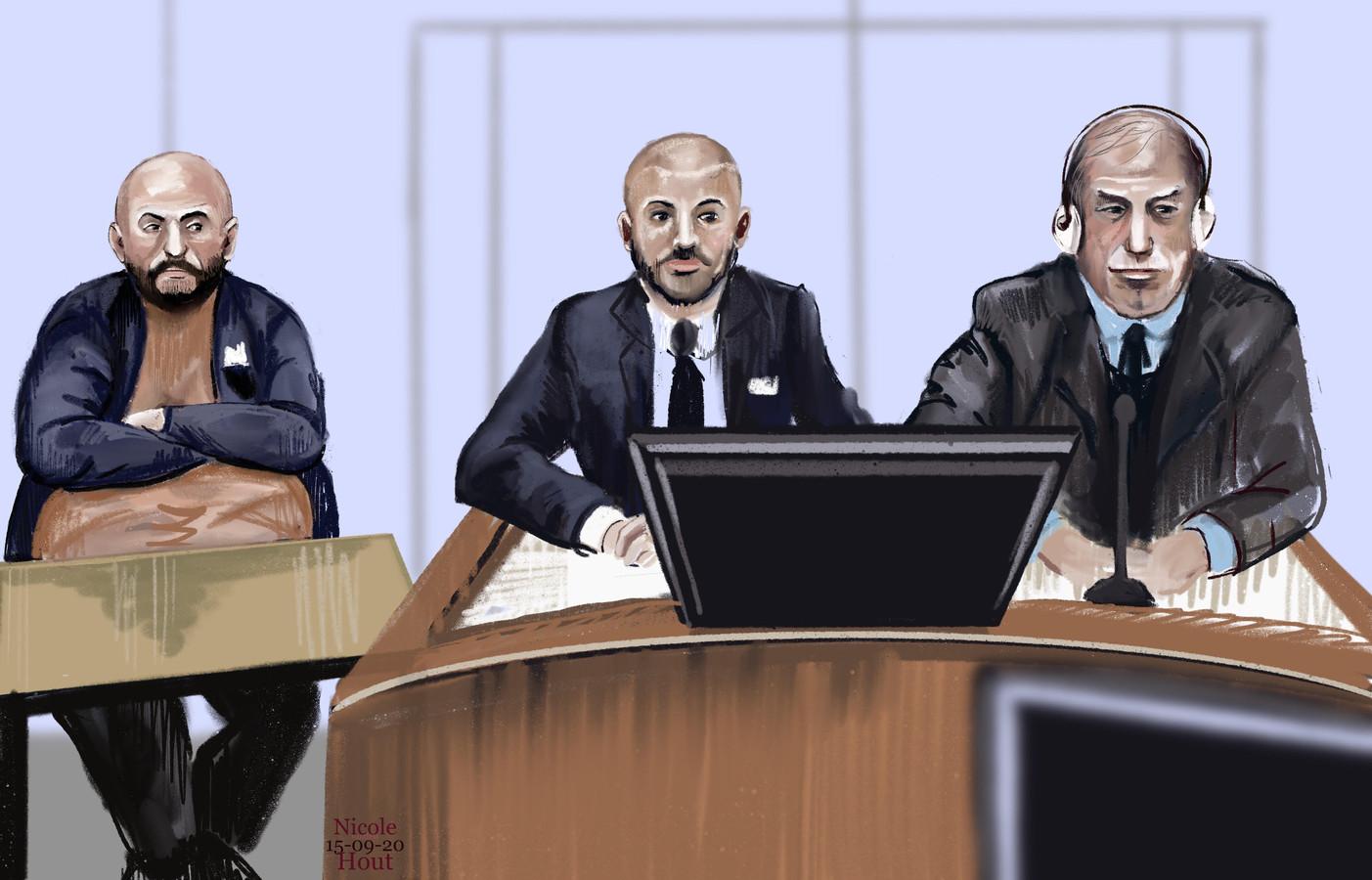 De drie hoofdverdachten in de rechtbank