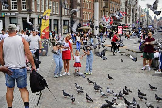 Dagjesmensen en toeristen in het centrum van Amsterdam