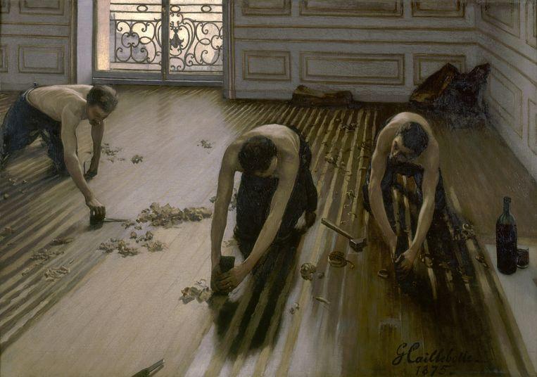 'De parketschavers' (1875) van Gustave Caillebotte. Beeld gustave caillebotte