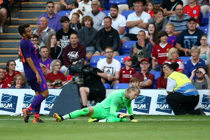 Loris Karius na zijn blunder tegen Tranmere Rovers.