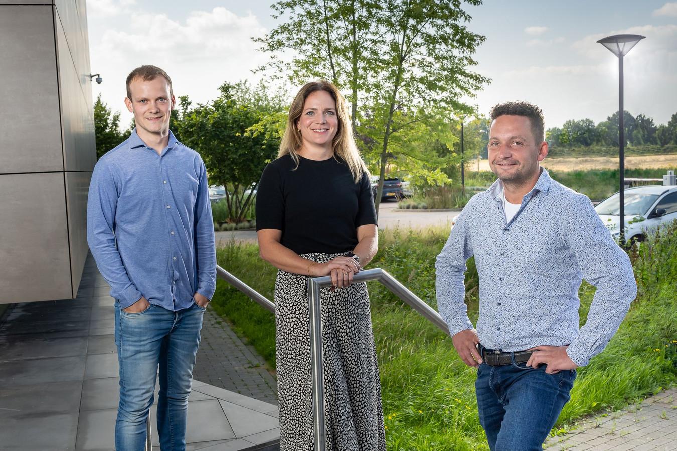 De drie genomineerde ondernemers: Wout Seuren (l), Marloes Kepser en Arno van Lankveld.