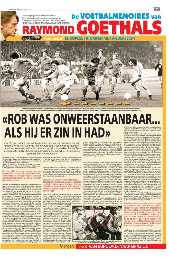 """Uit de voetbalmemoires van Raymond Goethals: """"Rob was onweerstaanbaar... als hij er zin in had"""""""