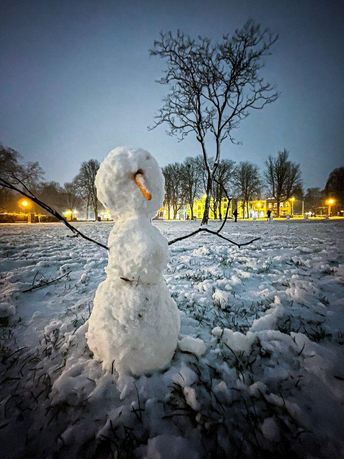 Winterse foto uit Utrecht. Sneeuwpop op het Lepelenburg