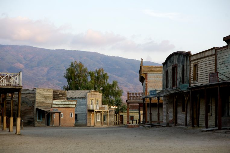 De filmset op Fort Bravo/Texas in Almeria, Spanje. Gebouwd voor 'A  Fistful of Dollars', 'For a Few Price' en 'The Good, the Bad and the Ugly'. Beeld Getty