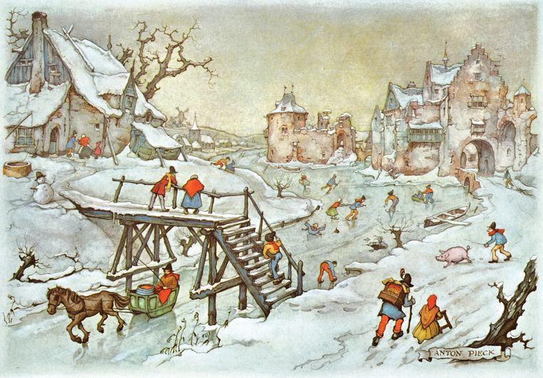 Anton Pieck, IJstafereel, arrenslee onder houten brug, 1969, aquarel, 15 x 21,5 cm, kalenderplaat voor de maand januari. Beeld Anton Pieck, licensed by Orange Licensing BV