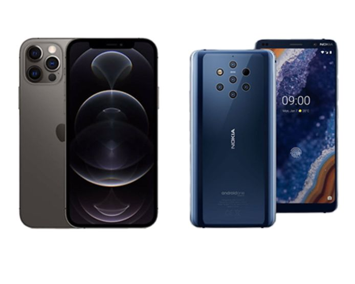 Iphone 12 Pro & Nokia 9 PureView Blue.