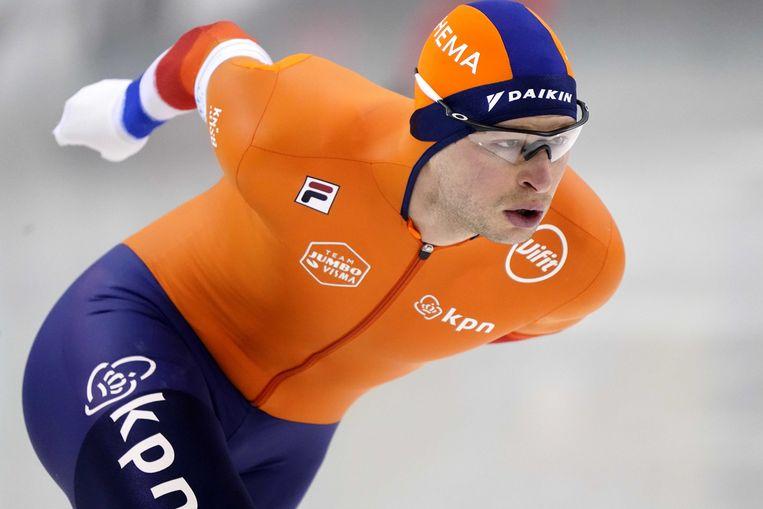 Sven Kramer kwam tijdens de rit op de 5.000 meter in Salt Lake City nét te kort om zijn concurrent Ted Jan Bloemen af te troeven.  Beeld ANP