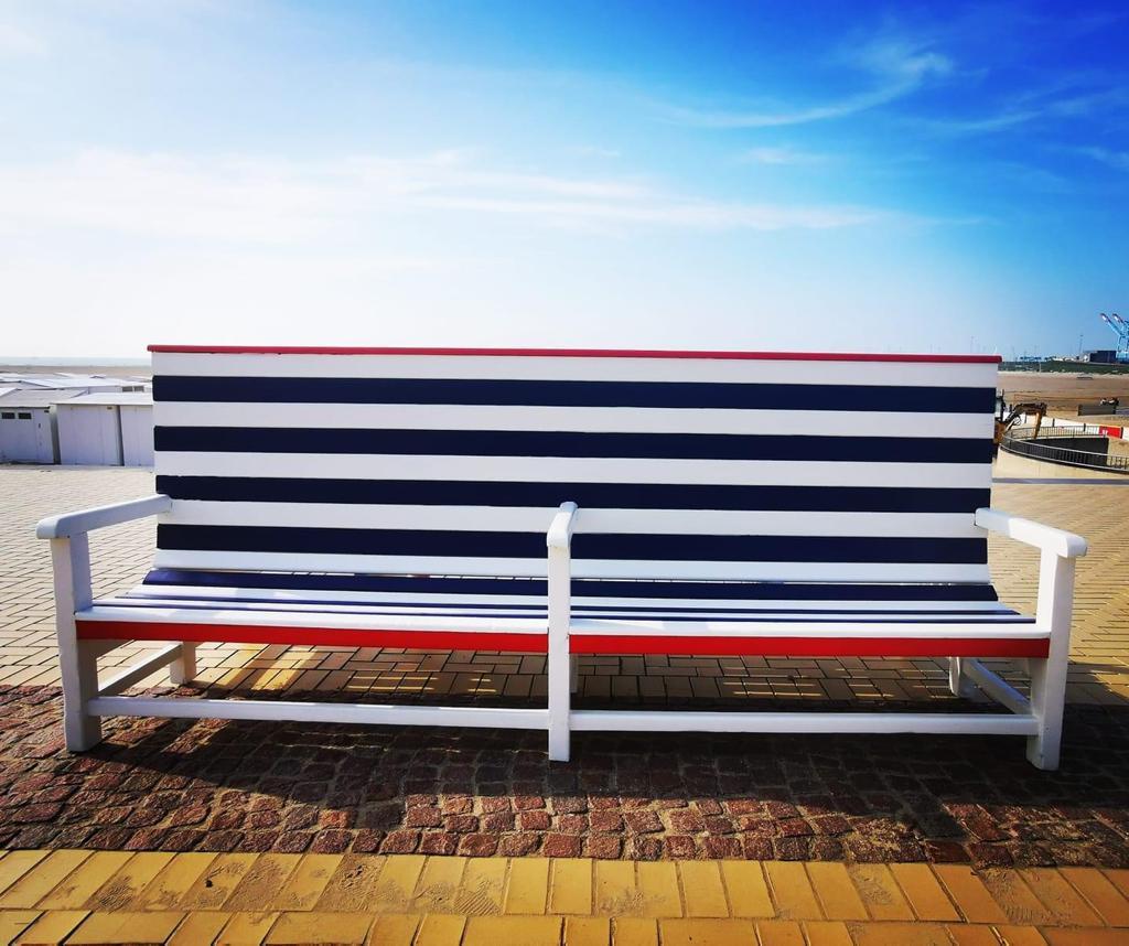De zitbanken in Zeebrugge ogen kleurrijk en aanlokkelijk om even te verpozen.