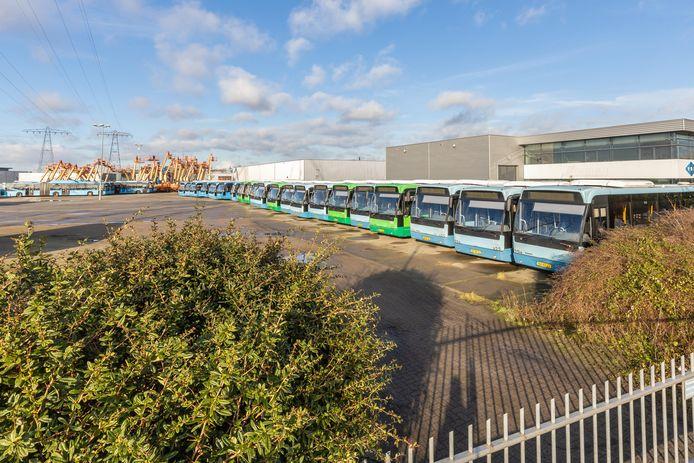 Vele tientallen voormalige Syntus-bussen staan op een terrein aan de Paxtonstraat in Zwolle, te wachten op een nieuwe toekomst.