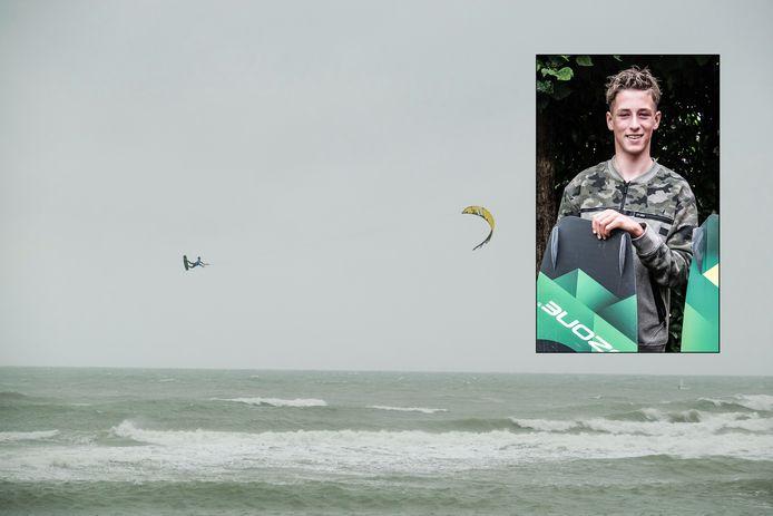 Kitesurfer Jamie Overbeek (14) uit Ulft geeft zijn visitekaartje af op de Cold Hawaii Games in Denemarken.