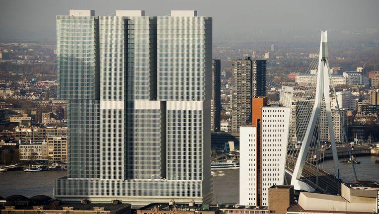 Luchtfoto van de Rotterdam, het gebouw van Rem Koolhaas eindigde op de vijfde plek in de top tien van lelijkste nieuwbouw. Beeld anp