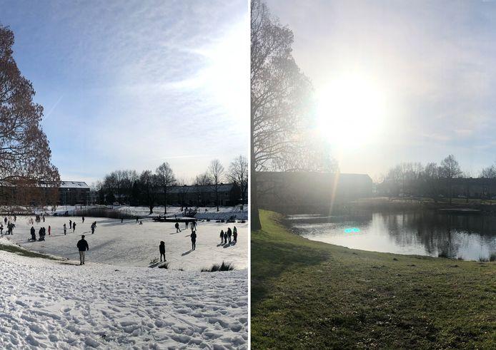 In een week tijd gingen we in Twente van sneeuw naar lente. Deze foto's zijn genomen bij een vijver in Groot Driene.
