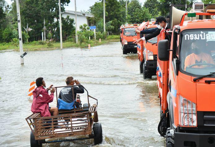 Beeld van de overstromingen in de provincie Sukhothai.