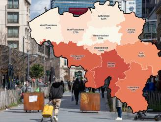 IN KAART. Positiviteitsratio stijgt in Wallonië en in Limburg boven 10 procent. Bekijk hier de situatie in uw regio