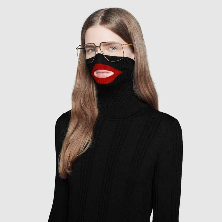 Ook Gucci (model) vond het een leuk idee om uit te pakken met grote rode lippen. Beeld rv