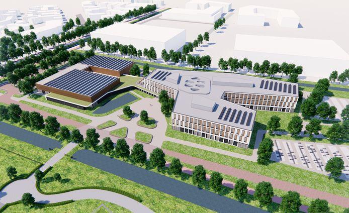 Ontwerp nieuw Rodenborch College (rechts) en sporthal met twee zalen (links).