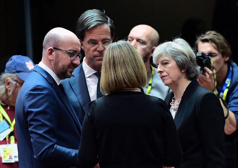15 december: Rutte op de cruciale EU-top met de Belgische premier Michel en EU-buitenlandchef Mogherini. Beeld afp
