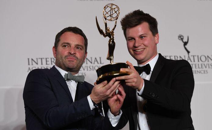 Kamiel De Bruyne (hier met Adriaan Van den Hoof)is vooral bekend als bedenker van het programma 'Sorry voor alles', het programma won een Emmy Award voor beste programma in de categorie non-scripted entertainment.