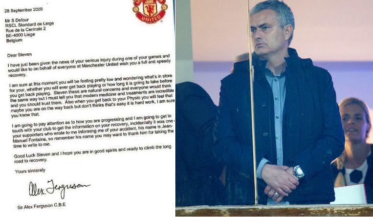 Links de brief aan Defour, rechts Mourinho aan de Gaverbeek.