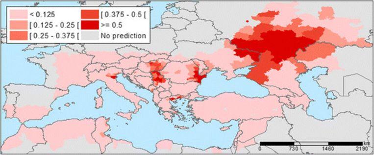 Locaties waar het West-Nijnvirus in 2014 voorkwam. Beeld rv