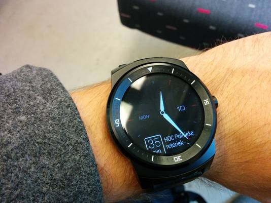 Android Wear geeft aan hoeveel minuten je nog hebt om op de afspraak te geraken.