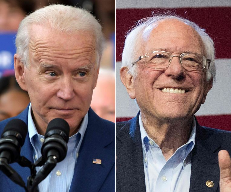 Joe Biden en Bernie Sanders gaan opnieuw een spannende dinsdag tegemoet. Beeld AFP