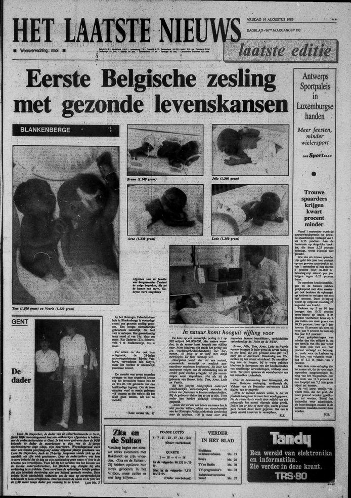 La naissance des sextuplés avait fait la Une de HLN en 1983