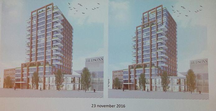 Het tweede concept, met grotere appartementen, ontwerp van Rietveld Architects