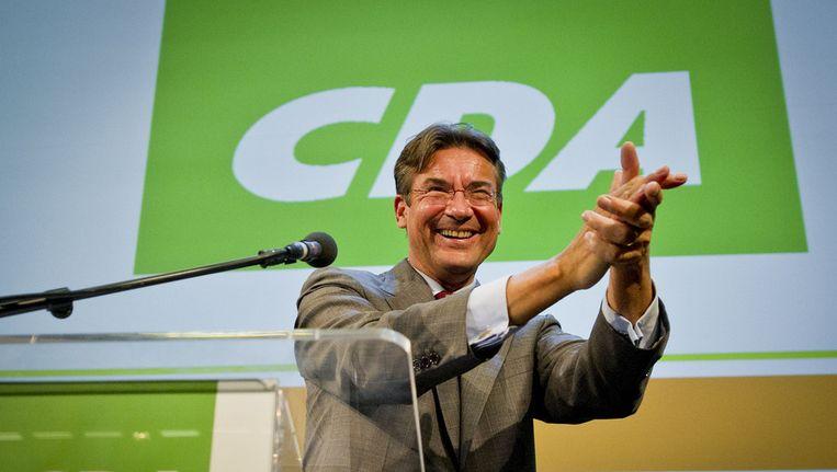 Een emotionele Maxime Verhagen bij het CDA-congres over de vraag of de partij wel of niet zou gaan regeren met de PVV. Beeld ANP