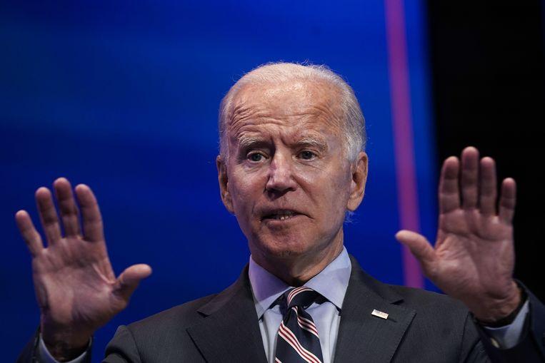 Democratische presidentskandidaat Joe Biden tijdens zijn toespraak in Wilmington, Delaware. (16/09/2020) Beeld AFP