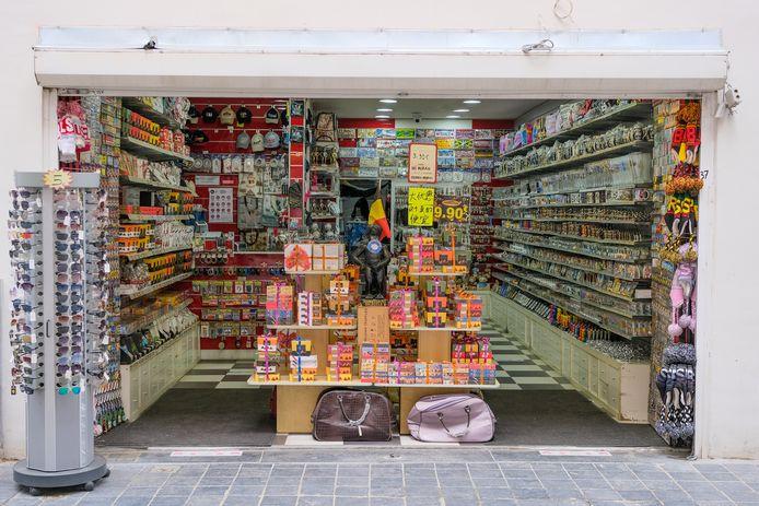 Een van de vele souvenirshops in centrum Brussel.