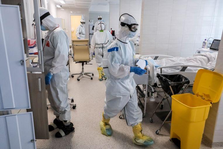 Elke dag worden in Rusland meer besmettingen gemeld. Er zijn nu officieel zo'n 155.000 Russen geïnfecteerd.  Beeld AP