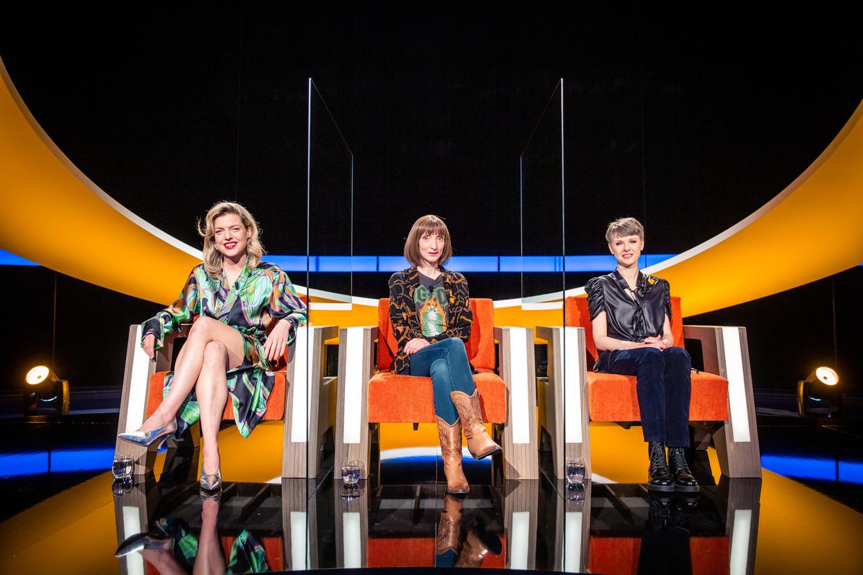 Finalistes Ella Leyers, Delphine Lecompte en Catherine Van Eylen. Beeld VIER