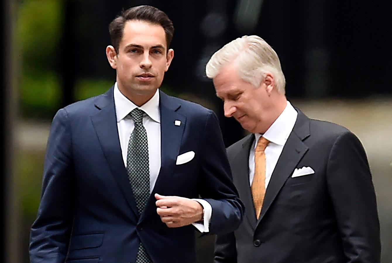 Vlaams Belang-voorzitter Tom Van Grieken bij koning Filip na de verkiezingen van 26 mei.
