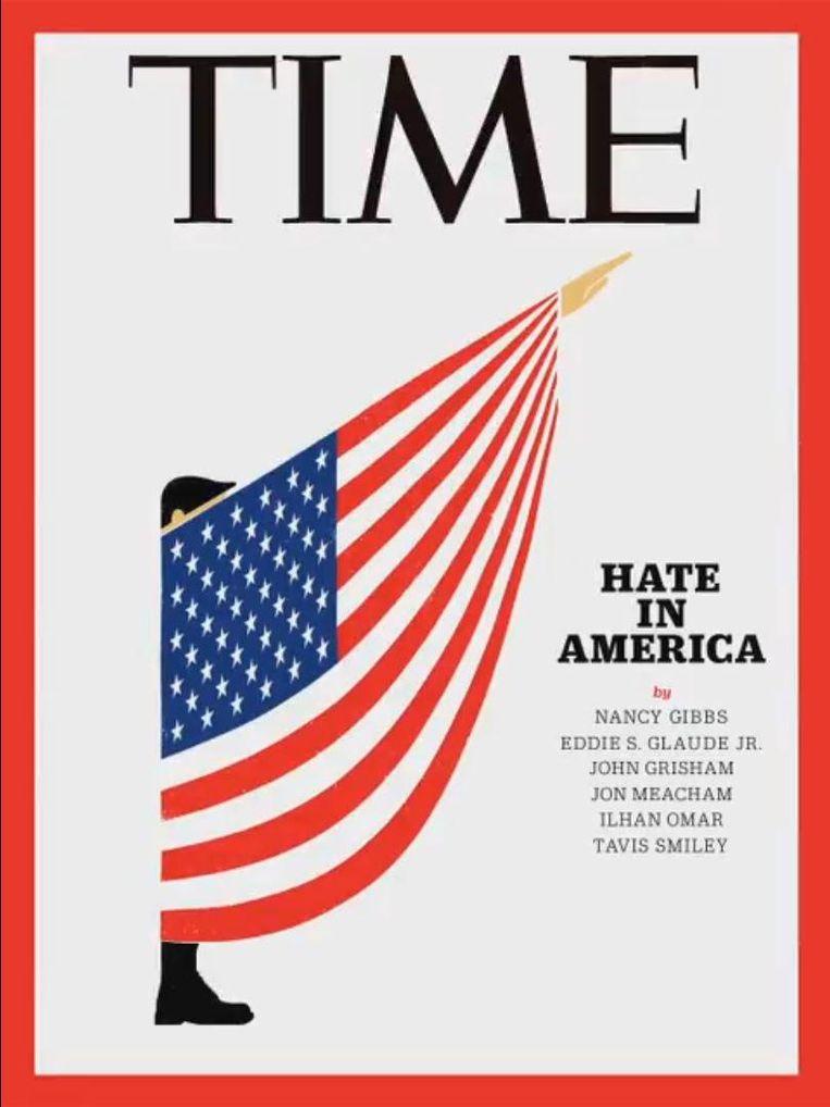 De covers van vooraanstaande internationale tijdschriften en Trumps ster op de Walk of Fame in Hollywood voorzien van een Ku Klux Klankap. Beeld RV