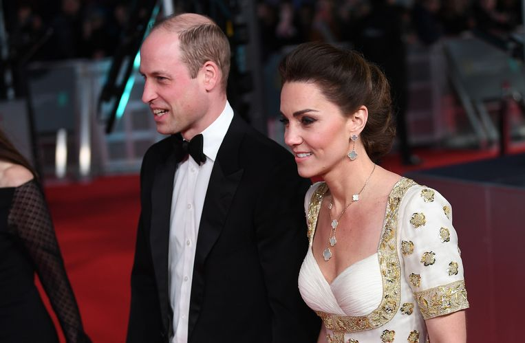 Prins William en zijn vrouw Catherine bij de BAFTA's. Beeld EPA