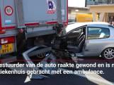 Verkeer in Arnhem vast door botsing tussen truck en auto