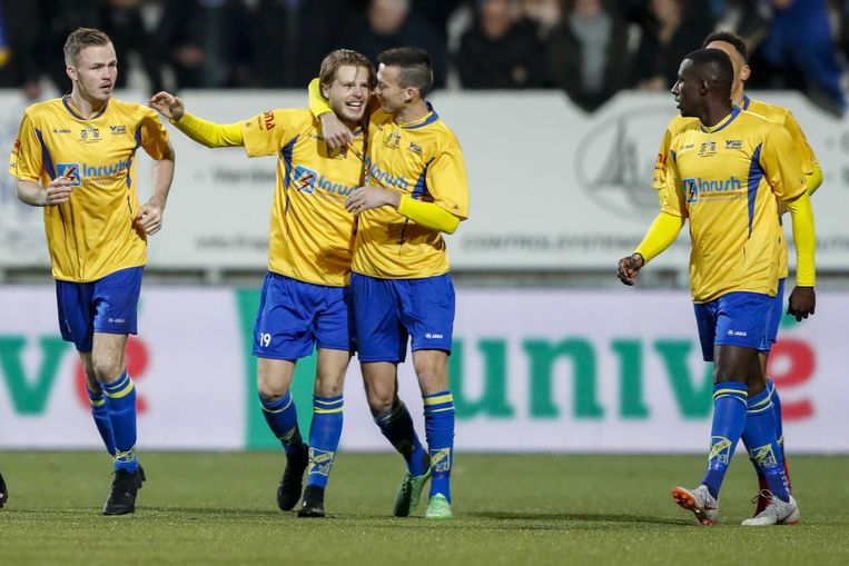 ODIN '59 viert de 1-0 tijdens de bekerwedstrijd tegen Heerenveen.  Beeld ANP