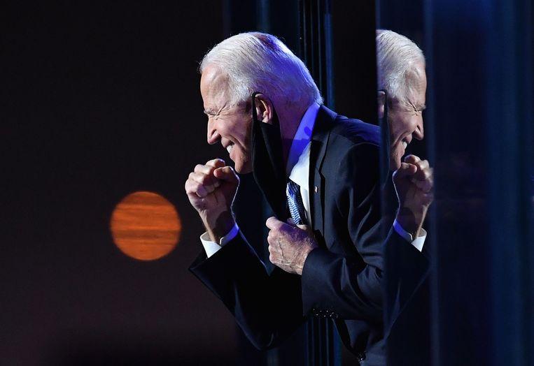 Joe Biden na zijn overwinningsspeech vorige week.  Beeld AFP