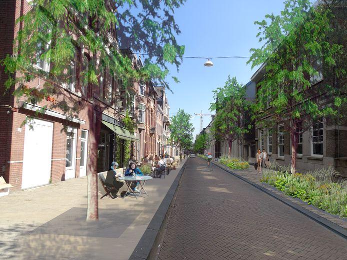 Variant 1, voorkeur van de gemeente: de Stationsstraat in het groen, bomen in de verharding aan de westzijde, groenvakken met bomen op de oostzijde.