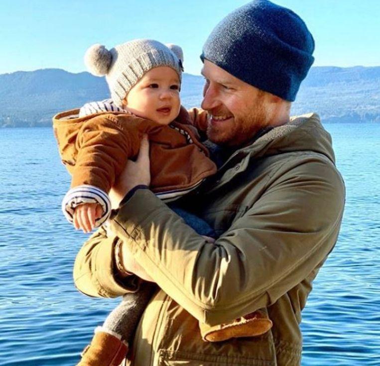 Harry en zoontje Archie in Canada.