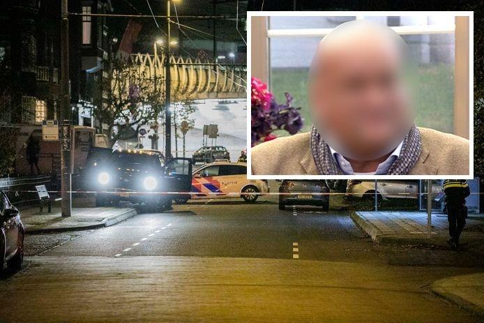 De locatie van de schietpartij in Arnhem. Het slachtoffer, een man uit Laren, is aan zijn verwondingen overleden. Inzetje: incassobaas Cees J.