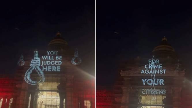 Actiegroep projecteert boodschap voor politici op Brussels justitiepaleis met afbeelding van strop