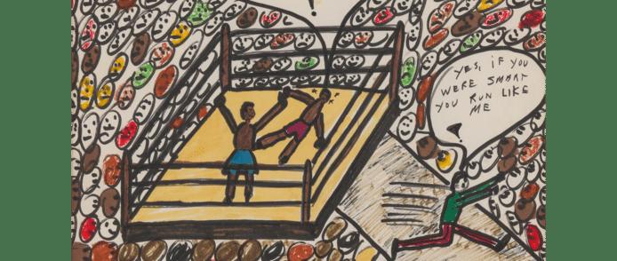 Het werk 'Sting Like a Bee' van Muhammad Ali, dat komende week wordt geveild in New York.