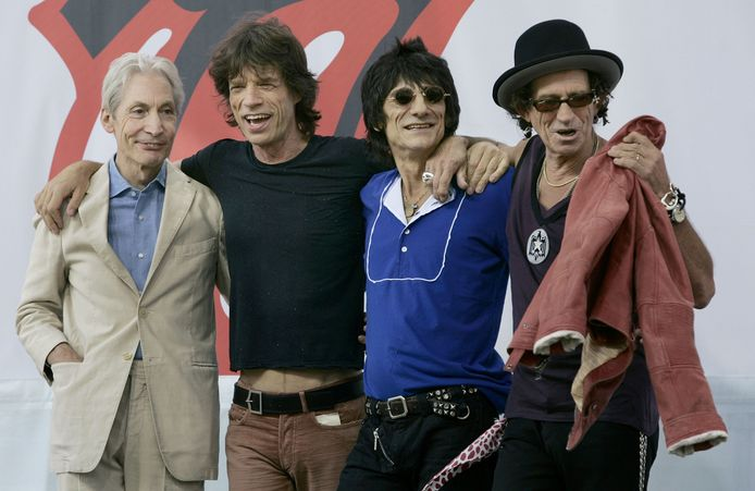 The Rolling Stones: Charlie Watts, Mick Jagger, Ron Woods en Keith Richards