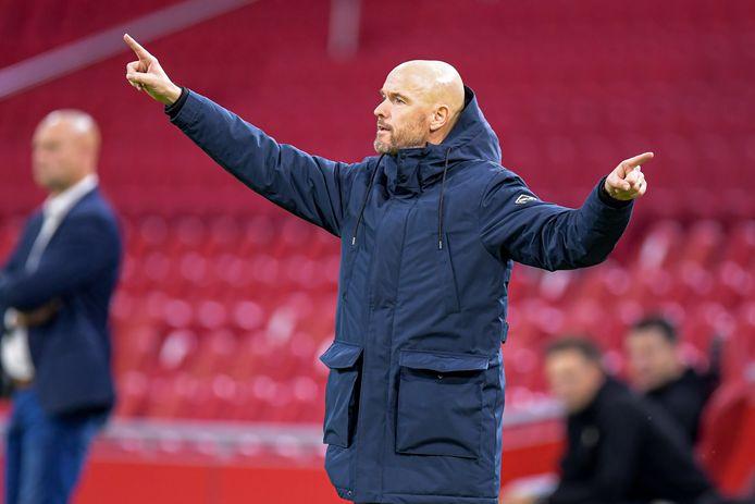 Erik ten Hag afgelopen zaterdag tijdens Ajax - Fortuna Sittard (5-2).