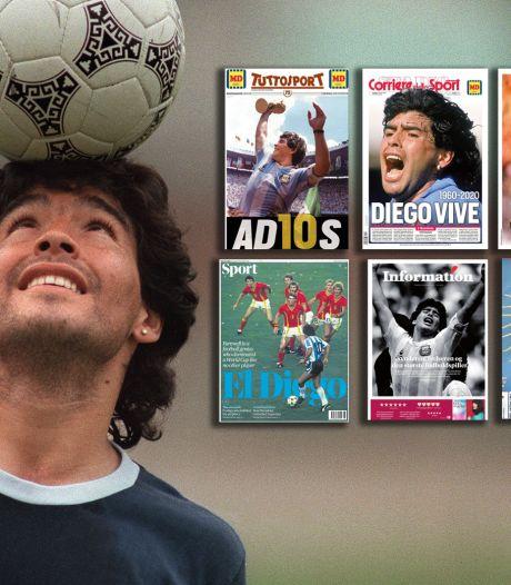 Zo zien de covers van de sportkranten eruit na de dood van Maradona
